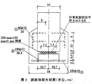 拱肋加固大样图(单位:cm)