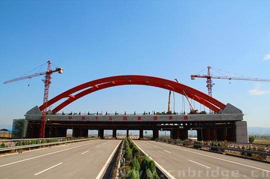客专跨汾平高速系杆拱桥即将竣工